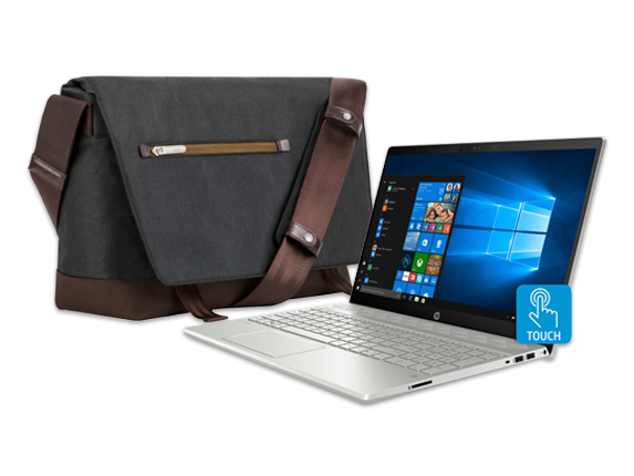 "HP Pavilion 15"" Laptop + Moshi Aerio Messenger Bag Bundle - Center"