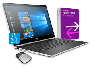 "HP Pavilion x360 - 15"" Convertible Laptop, Power PDF + Wireless Mouse Bundle"