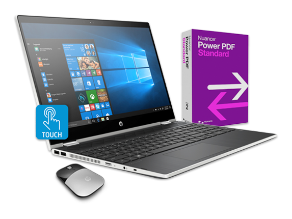 "HP Pavilion x360 - 15"" Convertible Laptop, Power PDF + Wireless Mouse Bundle - Center"