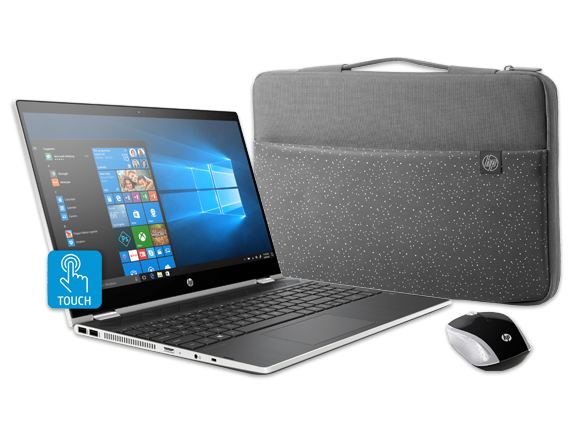 "HP Pavilion x360 - 15"" Convertible Laptop, Sleeve + Wireless Mouse Bundle - Center"