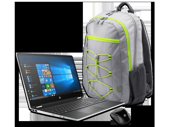 """HP Pavilion x360 15"""" Detachable PC, Active Backpack + Wireless Mouse Bundle - Center"""