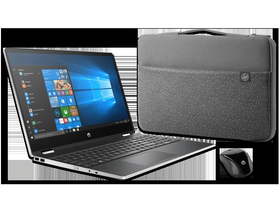 """HP Pavilion x360 15"""" Detachable PC, Carry Sleeve + Wireless Mouse Bundle - Center"""