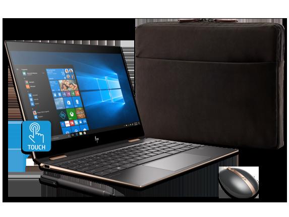 """HP Spectre x360 13"""" PC, Sleeve, + Rechargeable Mouse Bundle - Center"""