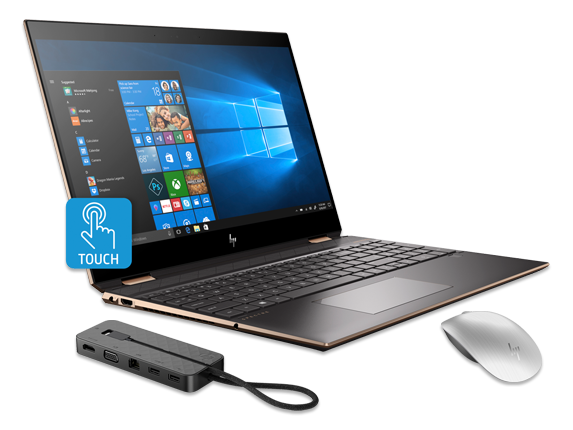 "HP Spectre x360 15"" PC, Bluetooth Mouse + USB-C Dock Bundle - Center"