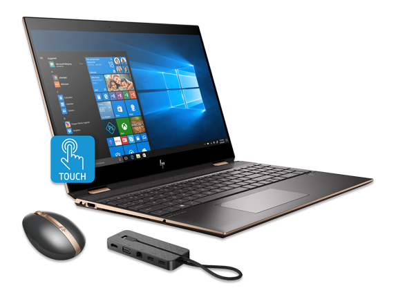 "HP Spectre x360 15"" PC + HP Spectre Rechargeable Mouse + HP Spectre USB-C Dock 2.0 Bundle - Center"