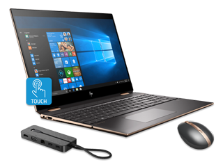 "HP Spectre x360 15"" PC, Rechargeable Mouse + USB-C Dock Bundle"
