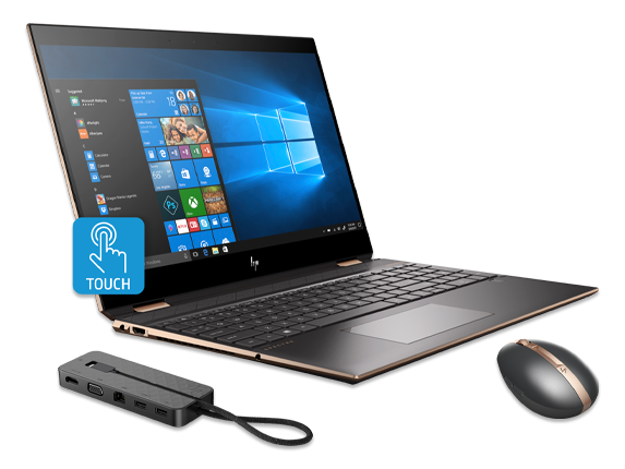 "HP Spectre x360 15"" PC, Rechargeable Mouse + USB-C Dock Bundle - Center"