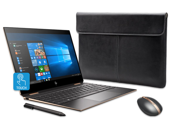HP Spectre x360 - 13-ap0039nr, Premium Leather Sleeve + Rechargeable Mouse Bundle - Center