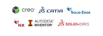 Certified and designed for Creo, Catia, Solid Edge, NX, Autodesk Inventor, SolidWorks.