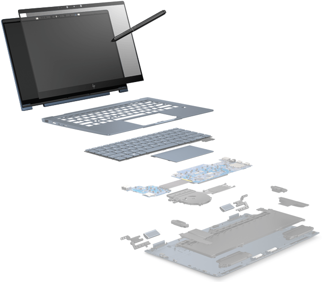 Spectre folio exploded parts view of display, keyboard, battery and leather pieces