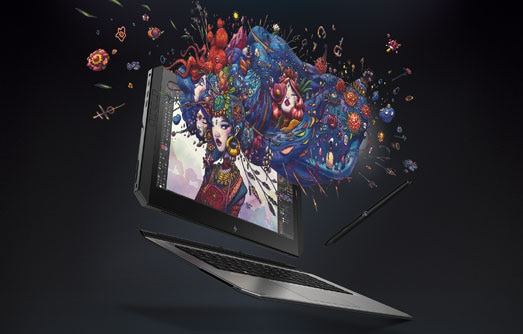 Zbook x2 showing an explosion of color graphics